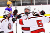 Baldwinsville Bees Braden Lynch (23) celebrates his goal against the CBA/JD Brothers in NYSPHSAA Section III Boys Ice Hockey action at the Lysander Ice Arena in Baldwinsville, New York on Tuesday, December 18, 2018. Baldwinsville won 3-1.