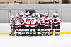 Baldwinsville Bees huddle up before playing the CBA/JD Brothers in a NYSPHSAA Section III Boys Ice Hockey game at the Lysander Ice Arena in Baldwinsville, New York on Tuesday, December 18, 2018.
