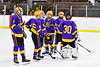 CBA/JD Brothers players before playing the Baldwinsville Bees in a NYSPHSAA Section III Boys Ice Hockey game at the Lysander Ice Arena in Baldwinsville, New York on Tuesday, December 18, 2018.
