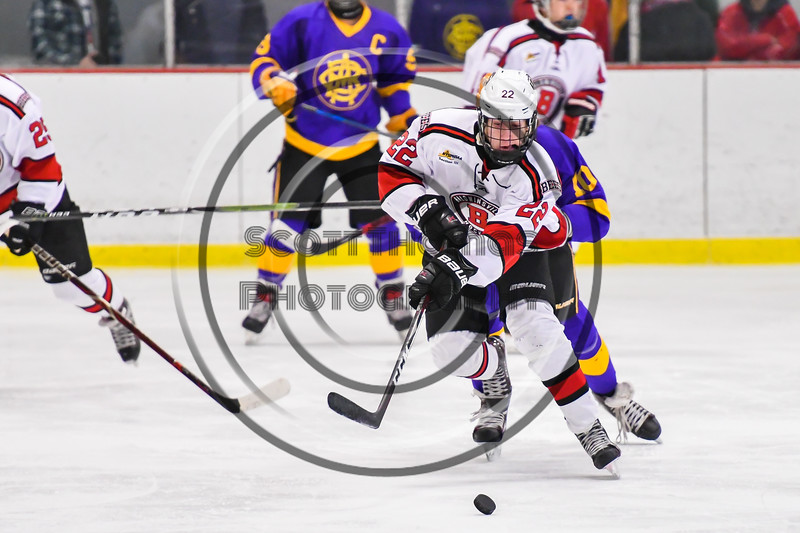 Baldwinsville Bees Mark Monaco (22) passes the puck against the CBA/JD Brothers in NYSPHSAA Section III Boys Ice Hockey action at the Lysander Ice Arena in Baldwinsville, New York on Tuesday, December 18, 2018. Baldwinsville won 3-1.