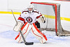 Baldwinsville Bees goalie Tommy Blais (31) in net against the CBA/JD Brothers in NYSPHSAA Section III Boys Ice Hockey action at the Lysander Ice Arena in Baldwinsville, New York on Tuesday, December 18, 2018. Baldwinsville won 3-1.