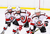 Baldwinsville Bees Michael Carni (6), Christian Treichler (33) and Quinn Sweeney (4) before a face-off against the CBA/JD Brothers in NYSPHSAA Section III Boys Ice Hockey action at the Lysander Ice Arena in Baldwinsville, New York on Tuesday, December 18, 2018. Baldwinsville won 3-1.