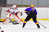 Baldwinsville Bees goalie Tommy Blais (31) gets ready to make a save against CBA/JD Brothers Simon Lessor (3) in NYSPHSAA Section III Boys Ice Hockey action at the Lysander Ice Arena in Baldwinsville, New York on Tuesday, December 18, 2018. Baldwinsville won 3-1.