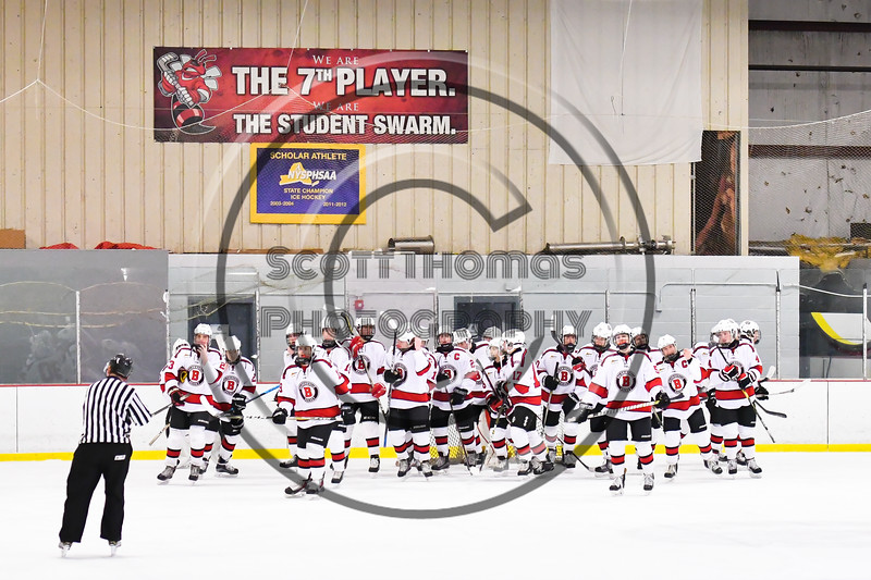 Baldwinsville Bees break the huddle before playing the CBA/JD Brothers in a NYSPHSAA Section III Boys Ice Hockey game at the Lysander Ice Arena in Baldwinsville, New York on Tuesday, December 18, 2018.