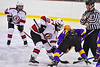 Baldwinsville Bees Mark Monaco (22) faces off against CBA/JD Brothers Hudson DiNapoli (22) to start the third period of a NYSPHSAA Section III Boys Ice Hockey game at the Lysander Ice Arena in Baldwinsville, New York on Tuesday, December 18, 2018. Baldwinsville won 3-1.