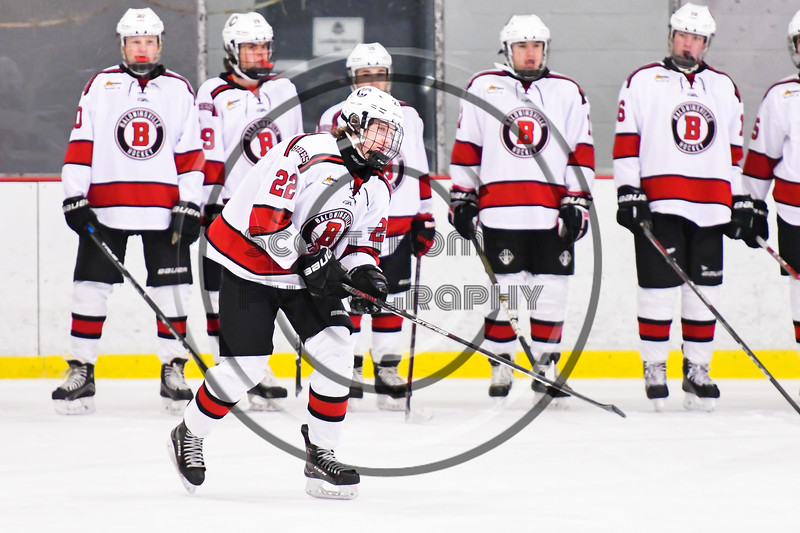 Baldwinsville Bees Mark Monaco (22) being introduced before playing the CBA/JD Brothers in a NYSPHSAA Section III Boys Ice Hockey game at the Lysander Ice Arena in Baldwinsville, New York on Tuesday, December 18, 2018.