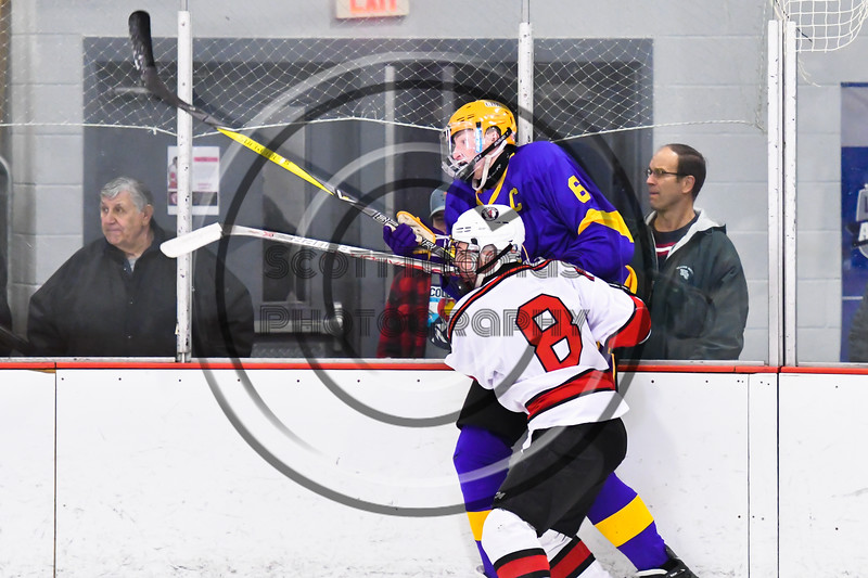 Baldwinsville Bees Parker Schroeder (8) checks CBA/JD Brothers Cole Mathews (6) in NYSPHSAA Section III Boys Ice Hockey action at the Lysander Ice Arena in Baldwinsville, New York on Tuesday, December 18, 2018. Baldwinsville won 3-1.