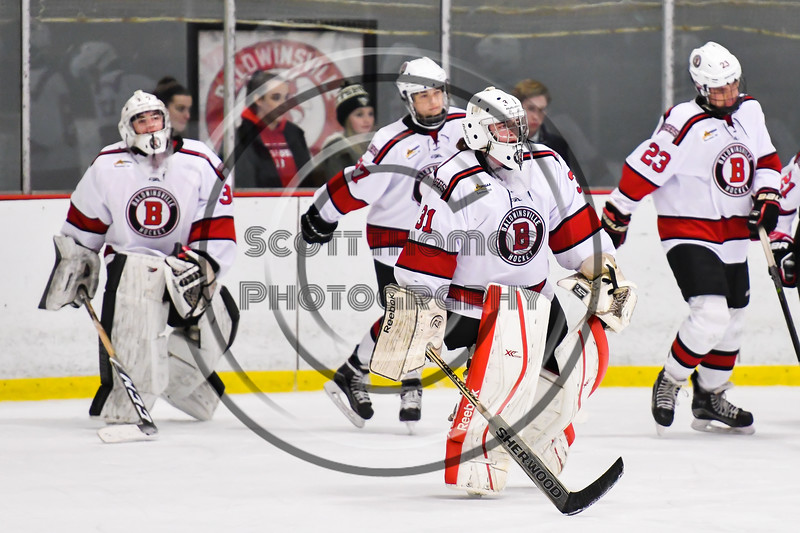Baldwinsville Bees goalie Tommy Blais (31) being introduced before playing the CBA/JD Brothers in a NYSPHSAA Section III Boys Ice Hockey game at the Lysander Ice Arena in Baldwinsville, New York on Tuesday, December 18, 2018.