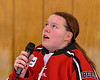 Baldwinsville Bees student sang the National Anthem before a NYSPHSAA Section III Boys Ice Hockey game at the Lysander Ice Arena in Baldwinsville, New York on Tuesday, December 18, 2018.