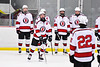 Baldwinsville Bees Parker Schroeder (8) being introduced before playing the CBA/JD Brothers in a NYSPHSAA Section III Boys Ice Hockey game at the Lysander Ice Arena in Baldwinsville, New York on Tuesday, December 18, 2018.