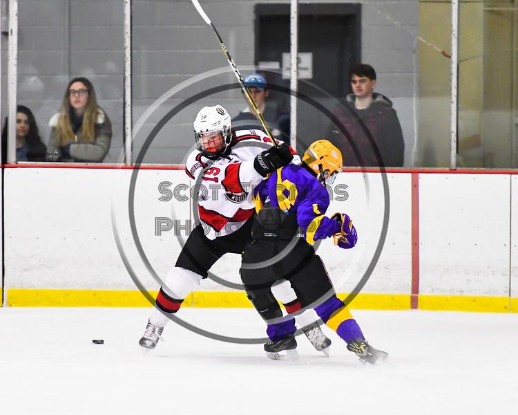 Baldwinsville Bees Michael Marsallo (19) checks CBA/JD Brothers Finn Wheeler (8) off the puck in NYSPHSAA Section III Boys Ice Hockey action at the Lysander Ice Arena in Baldwinsville, New York on Tuesday, December 18, 2018. Baldwinsville won 3-1.