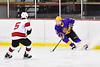 CBA/JD Brothers Simon Lessor (3) with the puck against Baldwinsville Bees Alexander Pompo (5) in NYSPHSAA Section III Boys Ice Hockey action at the Lysander Ice Arena in Baldwinsville, New York on Tuesday, December 18, 2018. Baldwinsville won 3-1.