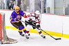 Baldwinsville Bees Mark Monaco (22) looking to make a play against CBA/JD Brothers Turner Pomeroy (2) in NYSPHSAA Section III Boys Ice Hockey action at the Lysander Ice Arena in Baldwinsville, New York on Tuesday, December 18, 2018. Baldwinsville won 3-1.