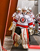Baldwinsville Bees goalie Tommy Blais (31) leads his team out of the locker room to play the CBA/JD Brothers in a NYSPHSAA Section III Boys Ice Hockey game at the Lysander Ice Arena in Baldwinsville, New York on Tuesday, December 18, 2018.