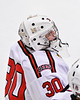 Baldwinsville Bees goalie Bradley O'Neill (30) before the start of the second period against the CBA/JD Brothers in NYSPHSAA Section III Boys Ice Hockey action at the Lysander Ice Arena in Baldwinsville, New York on Tuesday, December 18, 2018. Baldwinsville won 3-1.