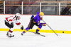 CBA/JD Brothers Simon Lessor (3) with the puck against the Baldwinsville Bees in NYSPHSAA Section III Boys Ice Hockey action at the Lysander Ice Arena in Baldwinsville, New York on Tuesday, December 18, 2018. Baldwinsville won 3-1.