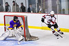 Baldwinsville Bees Luke Hoskin (16) looking to make a play against the CBA/JD Brothers in NYSPHSAA Section III Boys Ice Hockey action at the Lysander Ice Arena in Baldwinsville, New York on Tuesday, December 18, 2018. Baldwinsville won 3-1.
