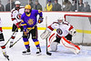 Baldwinsville Bees goalie Tommy Blais (31) in net against CBA/JD Brothers Bailey Doust (28) in NYSPHSAA Section III Boys Ice Hockey action at the Lysander Ice Arena in Baldwinsville, New York on Tuesday, December 18, 2018. Baldwinsville won 3-1.