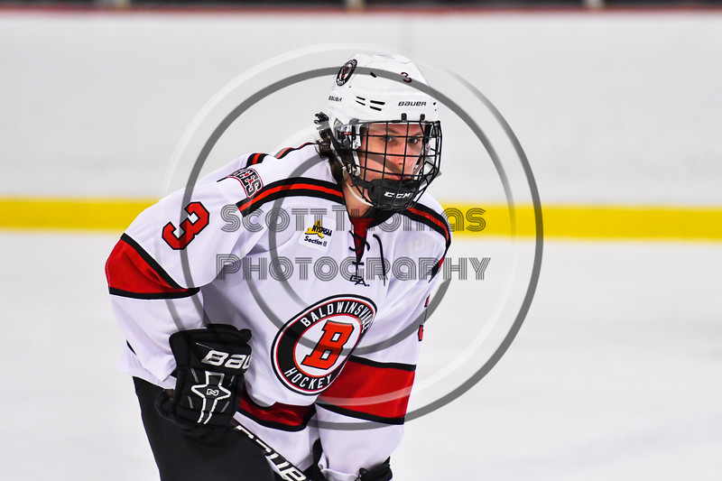 Baldwinsville Bees Ryan Muscatello (3) before a face-off against the CBA/JD Brothers in NYSPHSAA Section III Boys Ice Hockey action at the Lysander Ice Arena in Baldwinsville, New York on Tuesday, December 18, 2018. Baldwinsville won 3-1.