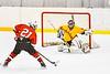 Baldwinsville Bees Cameron Sweeney (21) closing in on Ontario Storm goalie Colin Bennett (44) in NYSPHSAA Section III Boys Ice hockey action at Haldane Memorial Arena in Pulaski, New York on Thursday, December 20, 2018. Baldwinsville won 12-0.