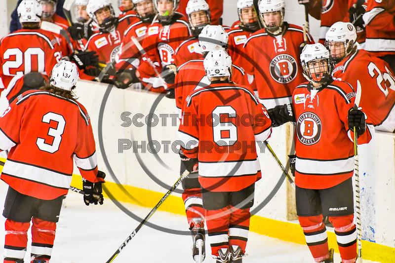 Baldwinsville Bees Michael Carni (6) celebrates his goal against the Ontario Storm in NYSPHSAA Section III Boys Ice hockey action at Haldane Memorial Arena in Pulaski, New York on Thursday, December 20, 2018. Baldwinsville won 12-0.