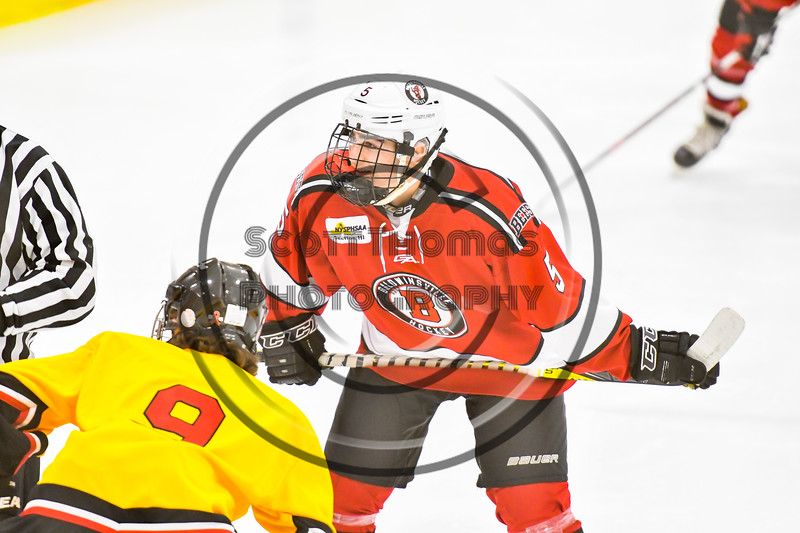 Baldwinsville Bees Alexander Pompo (5) before a face-off against the Ontario Storm in NYSPHSAA Section III Boys Ice hockey action at Haldane Memorial Arena in Pulaski, New York on Thursday, December 20, 2018. Baldwinsville won 12-0.
