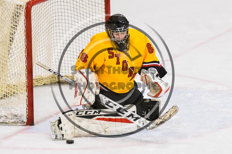 Ontario Storm goalie Zairrin O'Neil (66) makes a save against the Baldwinsville Bees in NYSPHSAA Section III Boys Ice hockey action at Haldane Memorial Arena in Pulaski, New York on Thursday, December 20, 2018. Baldwinsville won 12-0.