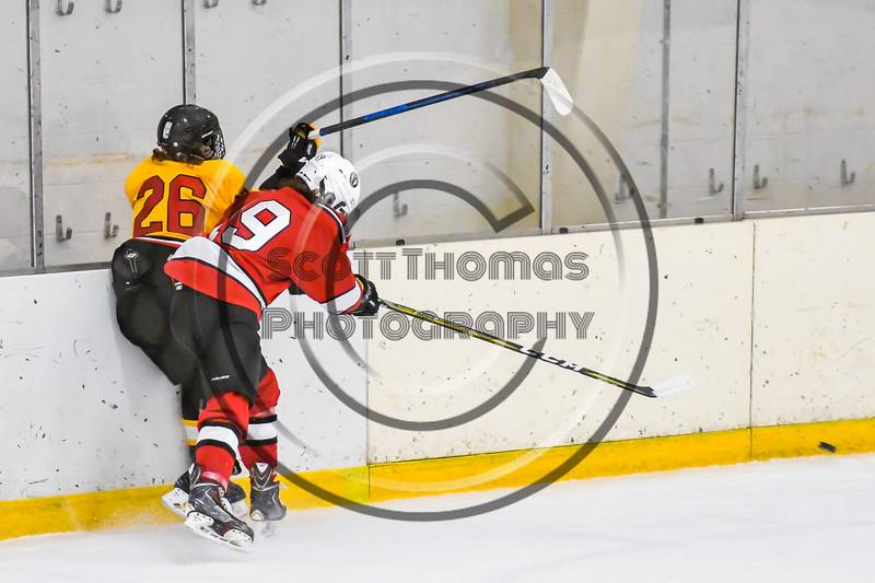 Baldwinsville Bees Michael Marsallo (19) checks Ontario Storm Ryan Blevins (26) in NYSPHSAA Section III Boys Ice hockey action at Haldane Memorial Arena in Pulaski, New York on Thursday, December 20, 2018. Baldwinsville won 12-0.