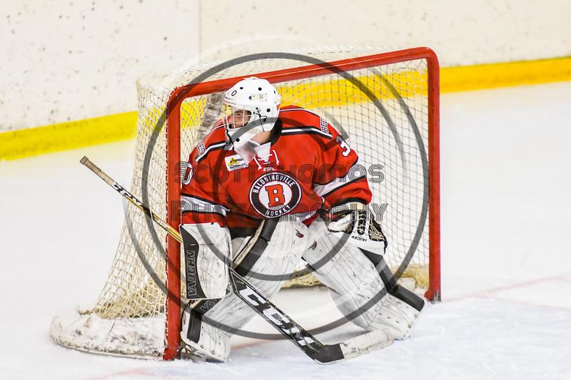 Baldwinsville Bees goalie Bradley O'Neill (30) in net against the Ontario Storm in NYSPHSAA Section III Boys Ice hockey action at Haldane Memorial Arena in Pulaski, New York on Thursday, December 20, 2018. Baldwinsville won 12-0.
