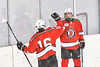 Baldwinsville Bees Luke Hoskin (16) congratulates Braden Lynch (23) on his goal against the Ontario Storm in NYSPHSAA Section III Boys Ice hockey action at Haldane Memorial Arena in Pulaski, New York on Thursday, December 20, 2018. Baldwinsville won 12-0.