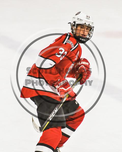 Baldwinsville Bees Christian Treichler (33) on the ice against the Ontario Storm in NYSPHSAA Section III Boys Ice hockey action at Haldane Memorial Arena in Pulaski, New York on Thursday, December 20, 2018. Baldwinsville won 12-0.