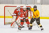 Baldwinsville Bees Matt Speelman (18) defending against Ontario Storm Caeden Goodnough (5) in front of Bees goalie Tommy Blais (31) in NYSPHSAA Section III Boys Ice hockey action at Haldane Memorial Arena in Pulaski, New York on Thursday, December 20, 2018. Baldwinsville won 12-0.