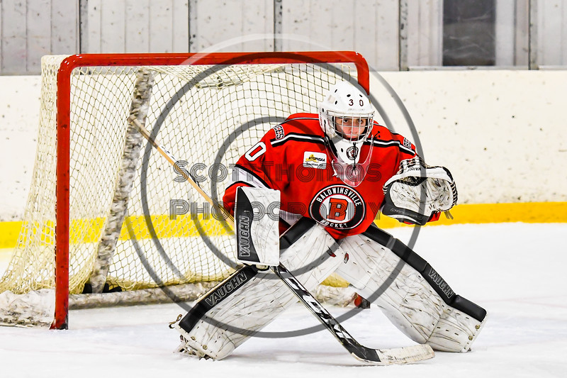 Baldwinsville Bees goalie Bradley O'Neill (30) warming up before playing the Ontario Storm in a NYSPHSAA Section III Boys Ice hockey game at Haldane Memorial Arena in Pulaski, New York on Thursday, December 20, 2018.