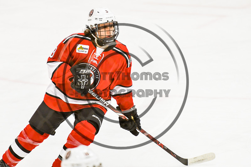 Baldwinsville Bees Quinn Sweeney (4) on the ice against the Ontario Storm in NYSPHSAA Section III Boys Ice hockey action at Haldane Memorial Arena in Pulaski, New York on Thursday, December 20, 2018. Baldwinsville won 12-0.