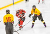 Baldwinsville Bees Nick Glamos (14) shoots the puck past Ontario Storm defenders Ryan Mosher (9) and Brandon Ackley (16) in NYSPHSAA Section III Boys Ice hockey action at Haldane Memorial Arena in Pulaski, New York on Thursday, December 20, 2018. Baldwinsville won 12-0.