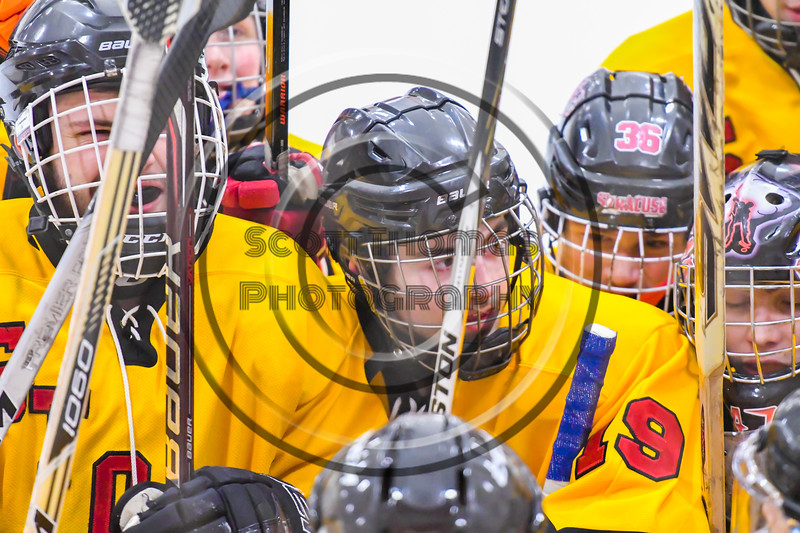 Ontario Storm players huddle up before the second period against the Baldwinsville Bees in a NYSPHSAA Section III Boys Ice hockey game at Haldane Memorial Arena in Pulaski, New York on Thursday, December 20, 2018. Baldwinsville won 12-0.