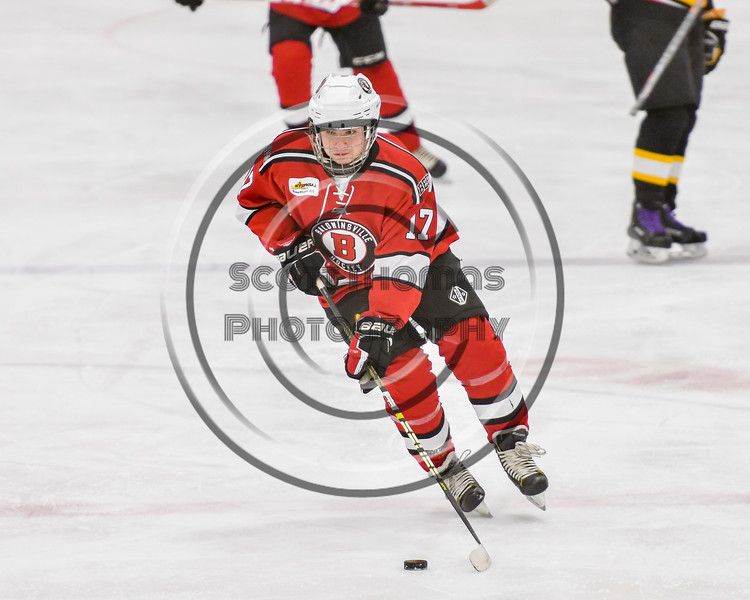 Baldwinsville Bees Christian Ficarra (17) skating with the puck against the Ontario Storm in NYSPHSAA Section III Boys Ice hockey action at Haldane Memorial Arena in Pulaski, New York on Thursday, December 20, 2018. Baldwinsville won 12-0.