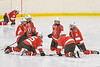 Baldwinsville Bees players stretching before the second period against the Ontario Storm in a NYSPHSAA Section III Boys Ice hockey game at Haldane Memorial Arena in Pulaski, New York on Thursday, December 20, 2018. Baldwinsville won 12-0.