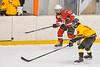 Baldwinsville Bees Braden Lynch (23) passes the puck against Ontario Storm Ryan Mosher (9) in NYSPHSAA Section III Boys Ice hockey action at Haldane Memorial Arena in Pulaski, New York on Thursday, December 20, 2018. Baldwinsville won 12-0.