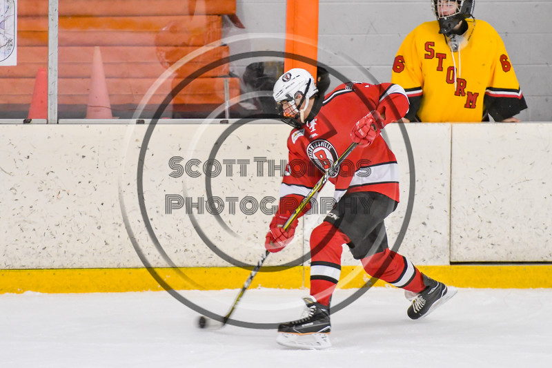Baldwinsville Bees Christian Treichler (33) fires the puck at the Ontario Storm net in NYSPHSAA Section III Boys Ice hockey action at Haldane Memorial Arena in Pulaski, New York on Thursday, December 20, 2018. Baldwinsville won 12-0.
