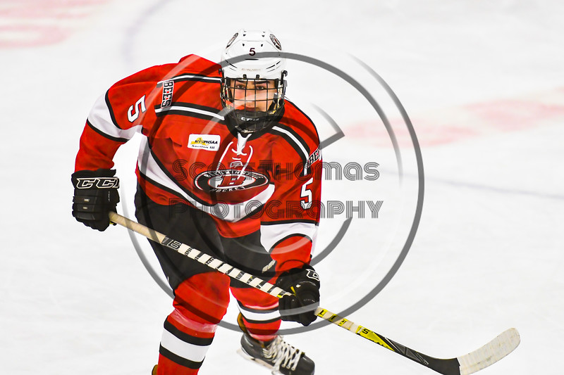 Baldwinsville Bees Alexander Pompo (5) on the ice against the Ontario Storm in NYSPHSAA Section III Boys Ice hockey action at Haldane Memorial Arena in Pulaski, New York on Thursday, December 20, 2018. Baldwinsville won 12-0.
