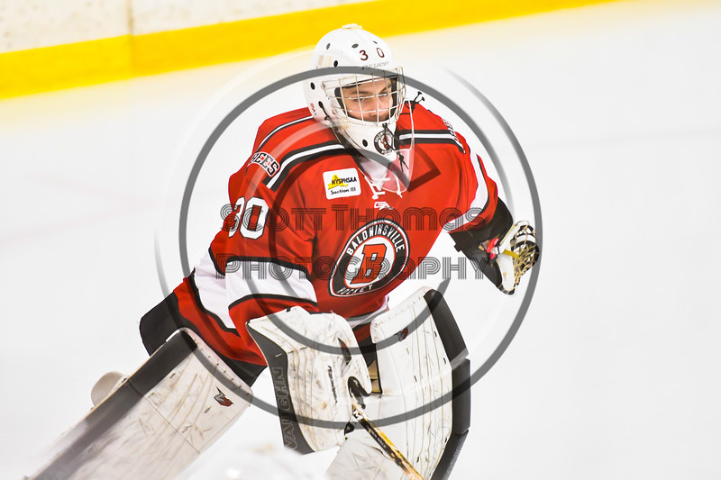 Baldwinsville Bees goalie Bradley O'Neill (30) before playing the Ontario Storm in a NYSPHSAA Section III Boys Ice hockey game at Haldane Memorial Arena in Pulaski, New York on Thursday, December 20, 2018.