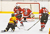 Baldwinsville Bees goalie Tommy Blais (31) makes a stick save against the Ontario Storm in NYSPHSAA Section III Boys Ice hockey action at Haldane Memorial Arena in Pulaski, New York on Thursday, December 20, 2018. Baldwinsville won 12-0.