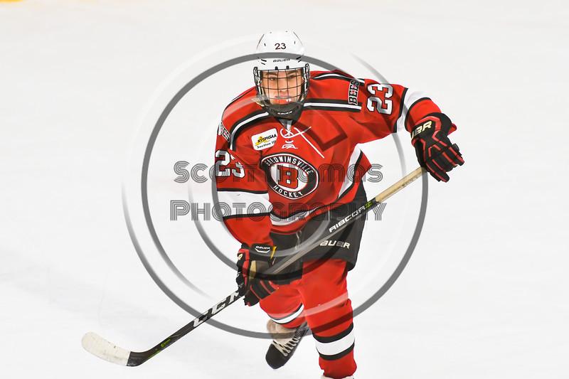Baldwinsville Bees Braden Lynch (23) playing against the Ontario Storm in NYSPHSAA Section III Boys Ice hockey action at Haldane Memorial Arena in Pulaski, New York on Thursday, December 20, 2018. Baldwinsville won 12-0.