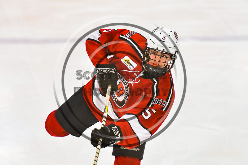 Baldwinsville Bees Alexander Pompo (5) warming up before playing the Ontario Storm in a NYSPHSAA Section III Boys Ice hockey game at Haldane Memorial Arena in Pulaski, New York on Thursday, December 20, 2018.
