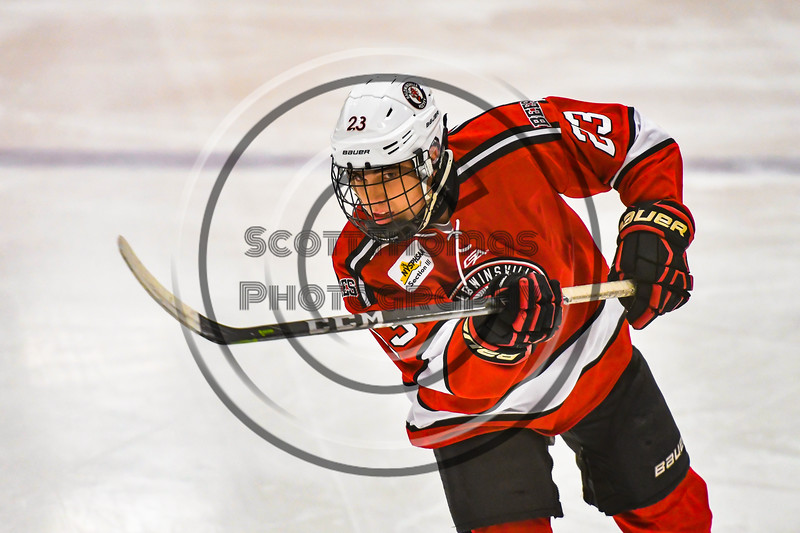 Baldwinsville Bees Braden Lynch (23) warming up before playing the Ontario Storm in a NYSPHSAA Section III Boys Ice hockey game at Haldane Memorial Arena in Pulaski, New York on Thursday, December 20, 2018.