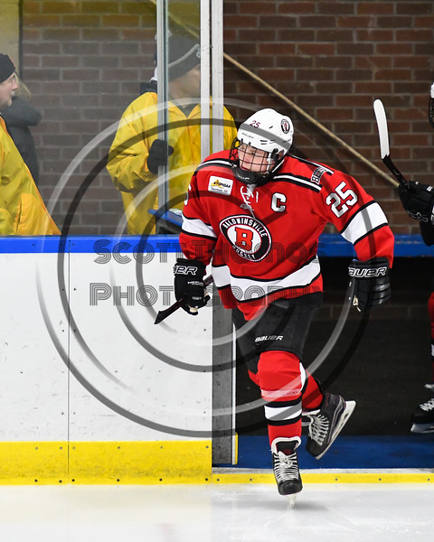 Baldwinsville Bees Jamey Natoli (25) hitting the ice before playing the West Genesee Wildcats in a NYSPHSAA Section III Boys Ice hockey game at Shove Park in Camillus, New York on Tuesday, January 29, 2019.