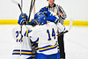 West Genesee Wildcats palyers congratulate Joe McLaughlin (9) for his goal against the Baldwinsville Bees in NYSPHSAA Section III Boys Ice hockey action at Shove Park in Camillus, New York on Tuesday, January 29, 2019. West Genesee won 5-1.