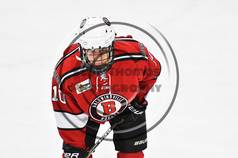 Baldwinsville Bees Cooper Foote (10) before a face-off against the West Genesee Wildcats in NYSPHSAA Section III Boys Ice hockey action at Shove Park in Camillus, New York on Tuesday, January 29, 2019. West Genesee won 5-1.
