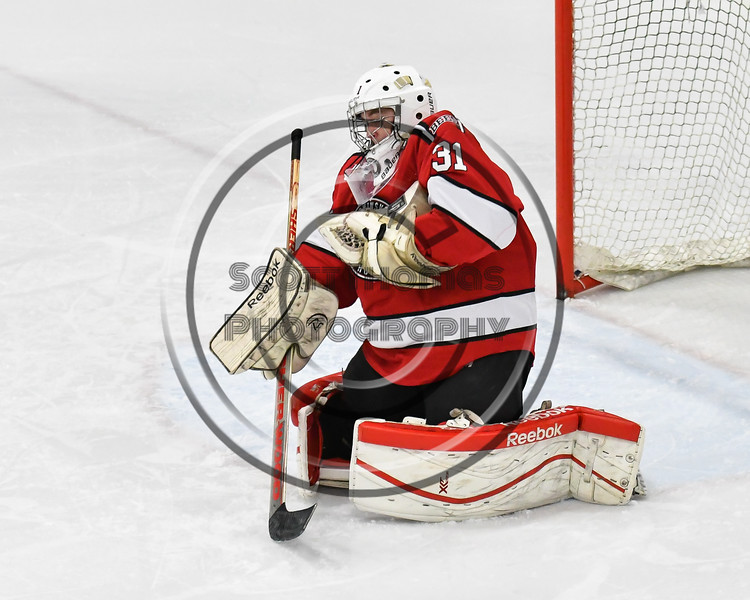 Baldwinsville Bees goalie Tommy Blais (31) makes a save against the West Genesee Wildcats in NYSPHSAA Section III Boys Ice hockey action at Shove Park in Camillus, New York on Tuesday, January 29, 2019. West Genesee won 5-1.